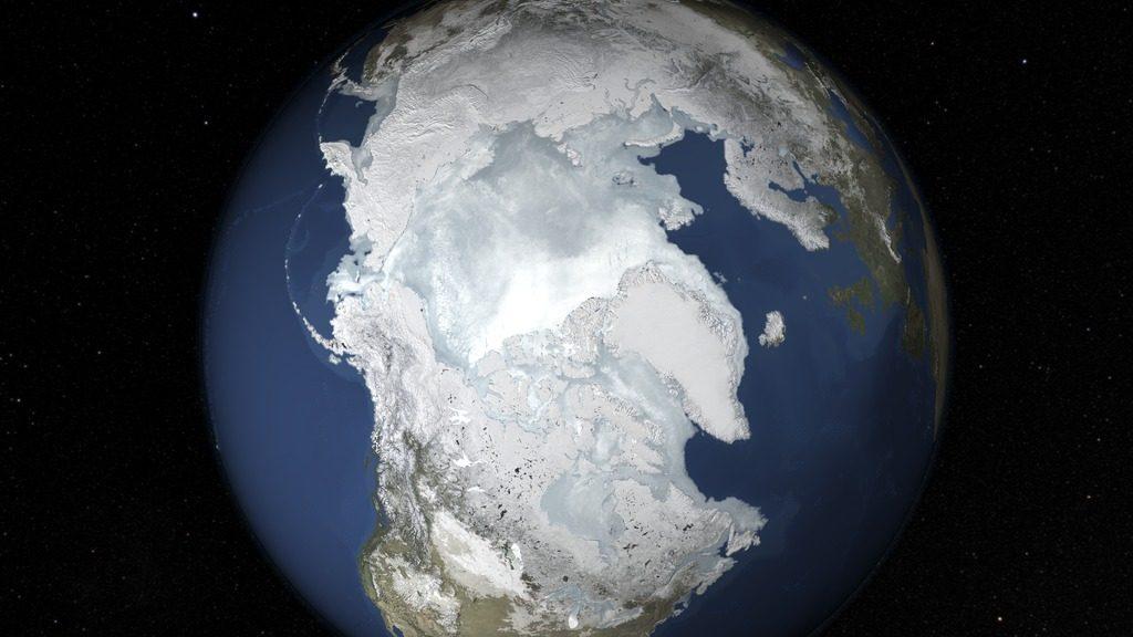 Eis gibt es zur Zeit nur an den Polen der Erde. Früher war das anders… (Bild: NASA's Goddard Space Flight Center)